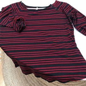 Olivia Moon red & black striped sailor top, L